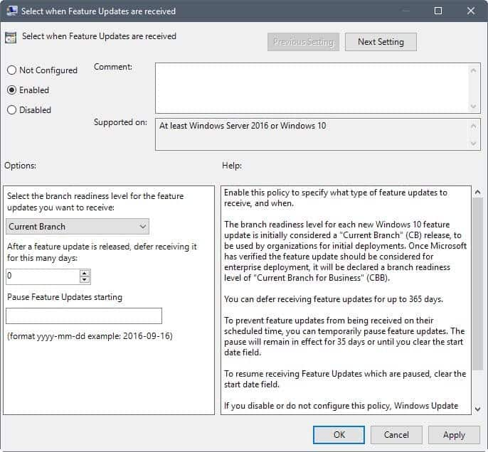 group policy defer fall creators update