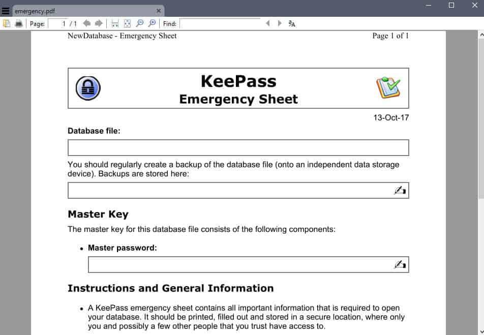 keepass emergency