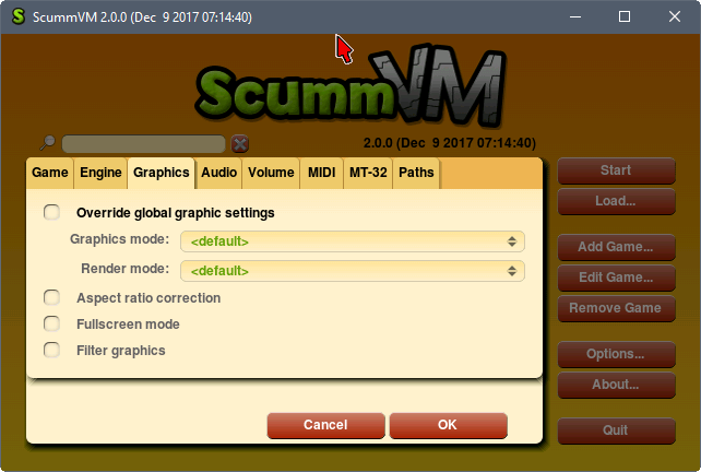 scummvm configuration