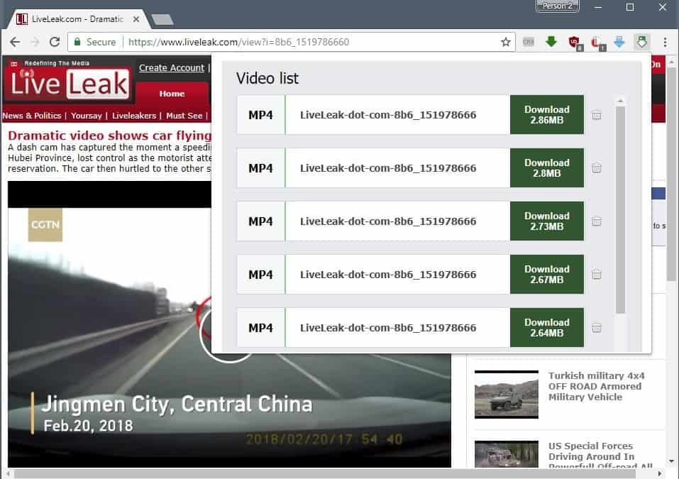 chrome download video