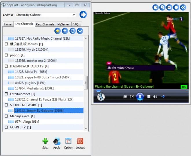 sopcast pc tv