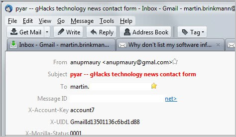 thunderbird email headers
