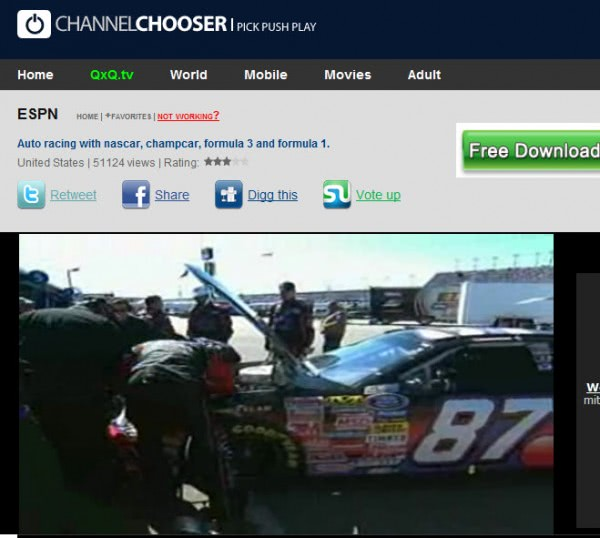 channel chooser espn nascar