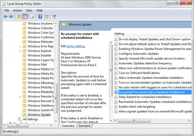 windows update reprompt for restart