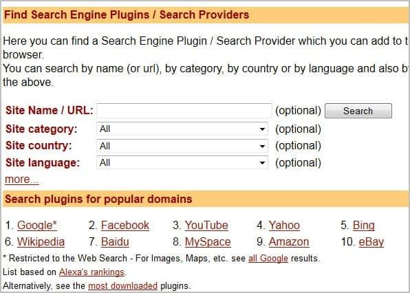 firefox custom search engines