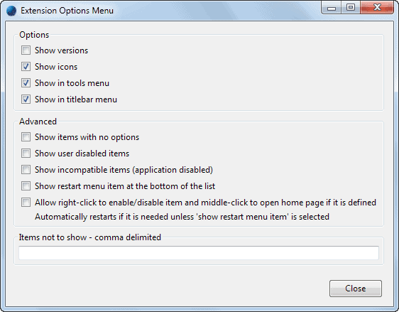 extension options menu
