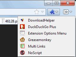 firefox extensions options menu