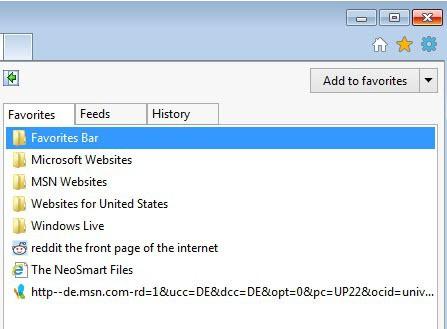 internet explorer favorites
