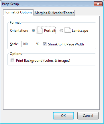 firefox format options