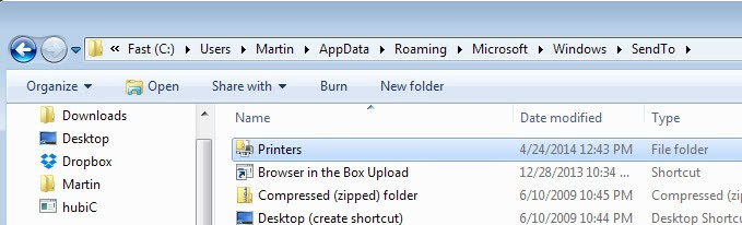 How to add printers to Windows' Send To menu