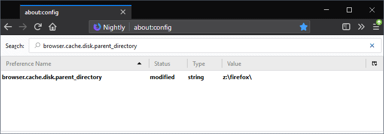 firefox cache directory