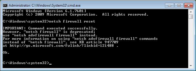 reset windows firewall