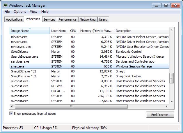 smss.exe windows process