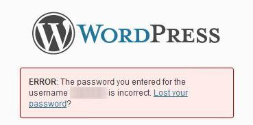 wordpress password incorrect