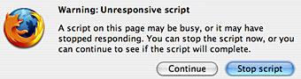 Warning Unresponsive Script