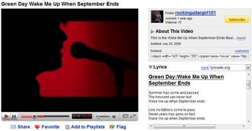 youtube music lyrics