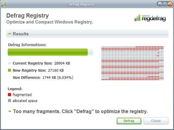 defrag registry
