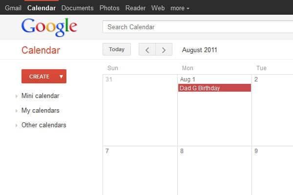 google calendar minimalist