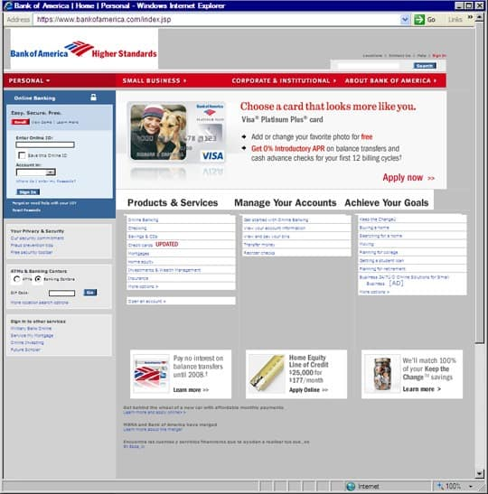 bank of america phishing site