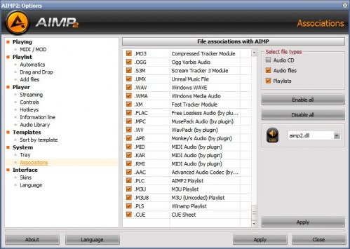 aimp2 file associations
