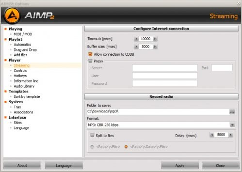 aimp record internet radio