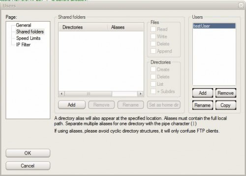ftp server shared folders