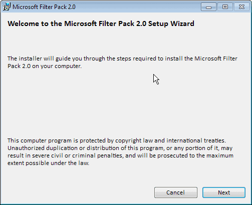 microsoft filter pack