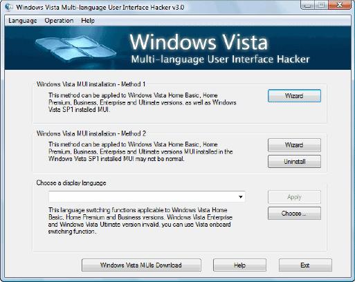 windows Vista multi-language user interface hacker