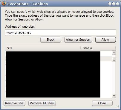 exceptions cookies