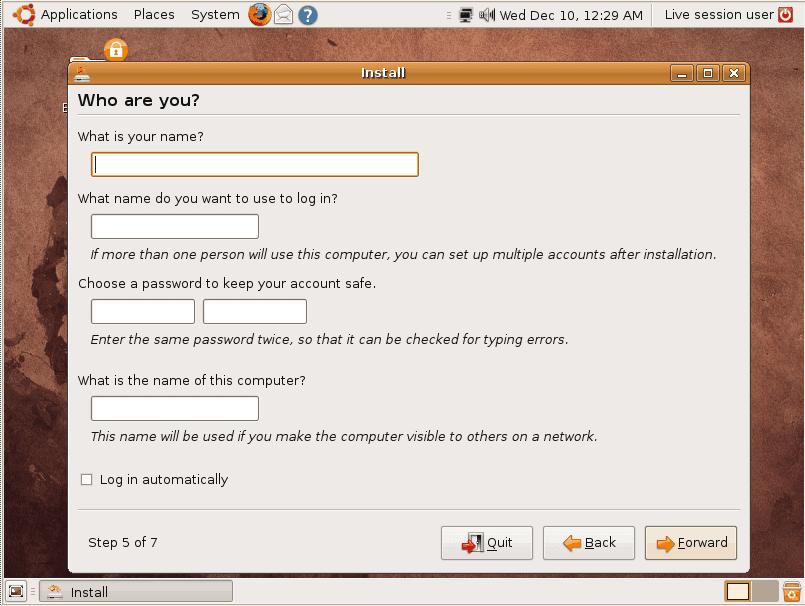 User information