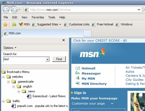 internet explorer favorites search