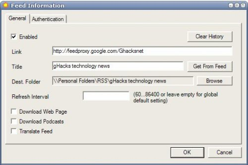 outlook rss