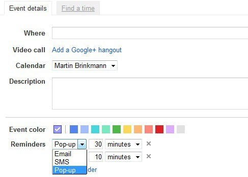 google calendar notifications