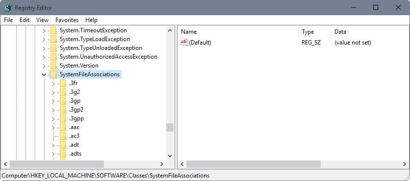 system file associations