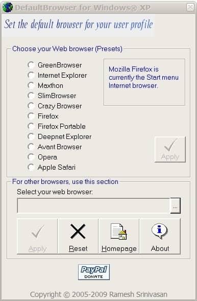 default internet browser