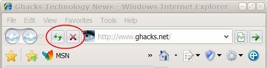 internet explorer 8 address bar