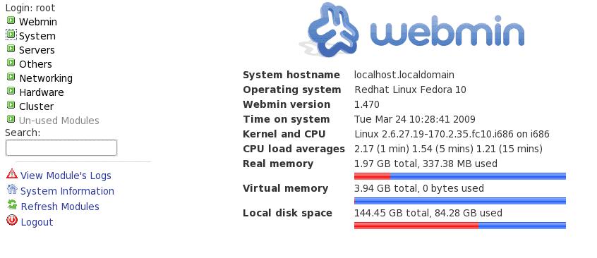 Webmin Main Page