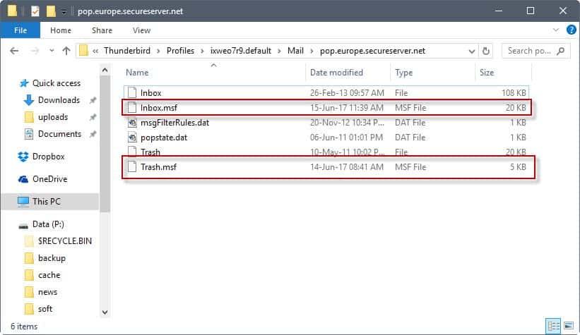 thunderbird msf files fix slow downs