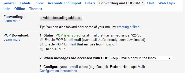 gmail pop configuration
