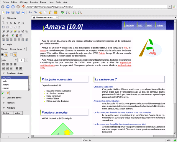 A standard compliant web browser and editor: Amaya