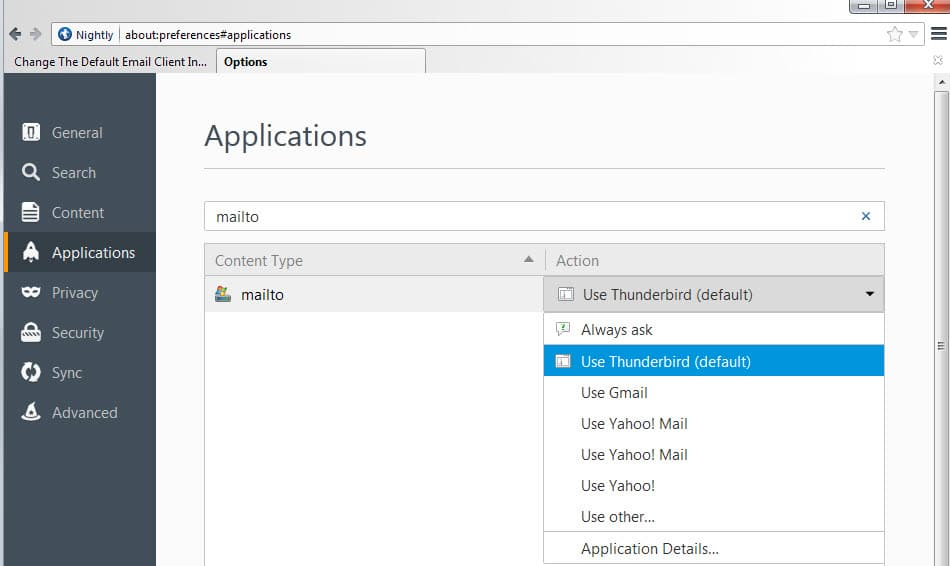 firefox default email client