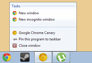 google chrome jumplist