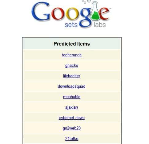 google sets suggestions