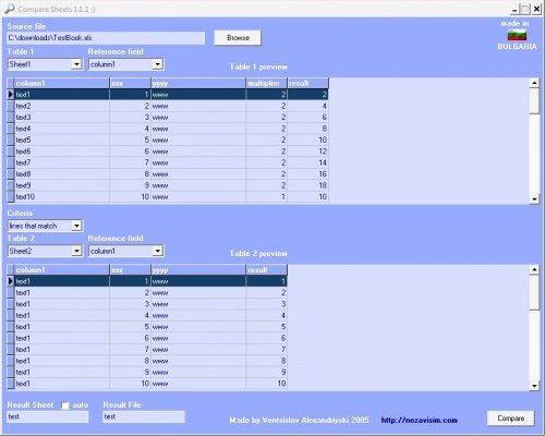 compare excel sheets