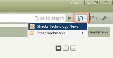 google chrome bookmark button