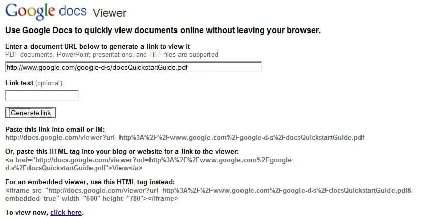 google docs viewer link