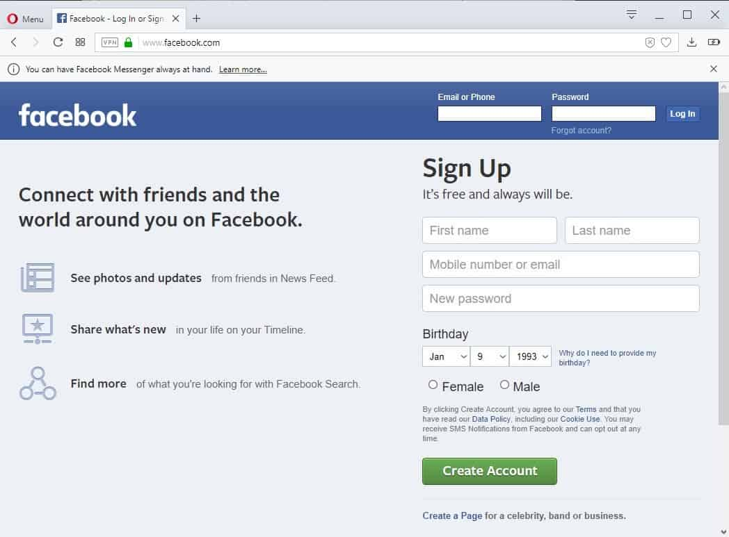 msn login with facebook