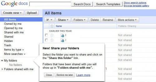 google docs share folders