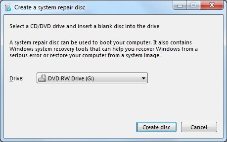 windows 7 system recovery disc