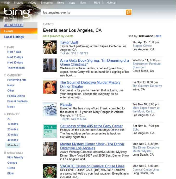 bing events